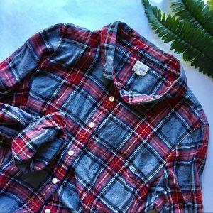 J Crew Plaid Flannel Button Down   L